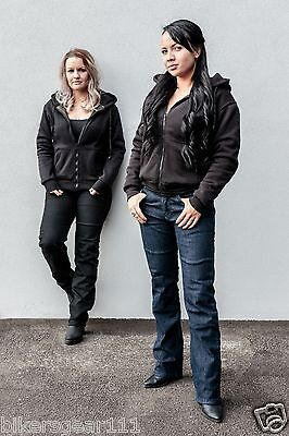 NEW WOMENS MOTORCYCLE HOODIE REINFORCED WITH DuPont™ KEVLAR® ARAMID FIBRBLACK 18