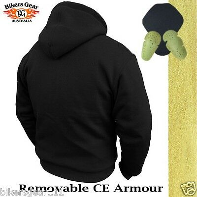 NEW MOTORCYCLE HOODIE FULLY REINFORCED WITH DuPont™ KEVLAR® ARAMID FIBRE BLACK