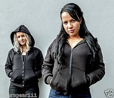 WOMENS MOTORCYCLE  HOODIE REINFORCED WITH DuPont™ KEVLAR® ARAMID FIBRE BLACK 14