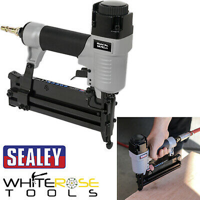 "Sealey Air Nail Staple Gun 1/4"" BSP 10-50mm Nailer 10-40mm Stapler"