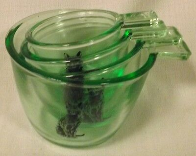 Depression Green Glass 4 Pc Stackable Measuring Cup Set w/ Black Cats