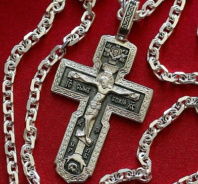 Large Mens Necklace Russian Orthodox Crucifix+Anchor Chain. Silver 925 SALE !!!
