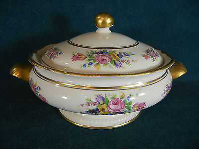 "Castleton Rose Round Handled 10 5/8"" Covered Serving Bowl with Lid"