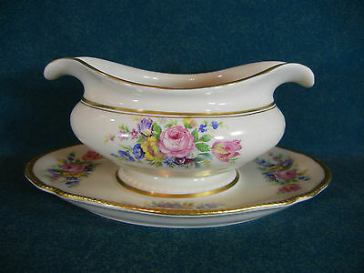 Castleton Rose Gravy Boat with Attached Under Plate