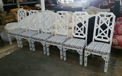 Best 6  70'S Tall Back Chinese Chippendale Fret Work Dining Chairs Palm Beach