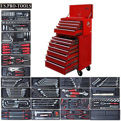 15 Us Pro Red Heavy Duty Tool Box/chest With Tools Kit Cabinet Finance Available