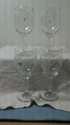 Set Of 4 Libby Clear Gobblets Glasses Christmas Holly And Berries