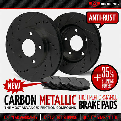 (FRONT KIT) (BLACK ZINC) Slotted & Drilled Rotors AND Carbon Metallic Brake Pads