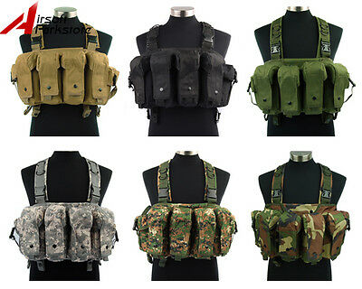 Tactical Military Airsoft Paintball Chest Rig Vest w/ 7.62 5.56 Magazine Pouch
