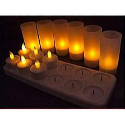 Lily's Home® LED Rechargeable Flameless Tea Light Candles with Difused New