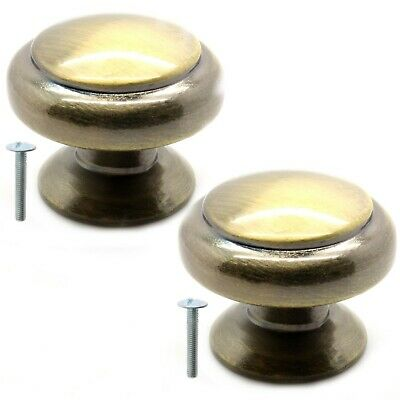 2x QUALITY BRUSHED SOLID BRASS ROUND KNOB HANDLES + BOLTS Drawer Cupboard Pull