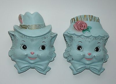 Vintage Blue Cat Couple in Sunday Hats Chalkware Wall Plaque Set