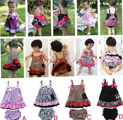 2PCS Girls Baby Bowknot Cute Ruffles Top+Pants Set 6-24M Bloomers Outfits Dress