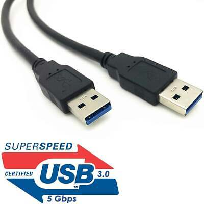 USB 3.0 A Male to A Male USB to USB Cable Black 3 Feet
