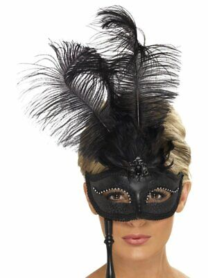Black Baroque Fantasy Eyemask Masquerade Halloween Fancy Dress Costume Accessory