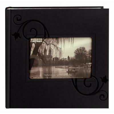 Pioneer Embossed Floral Frame Leatherette Cover Photo Album, Black New