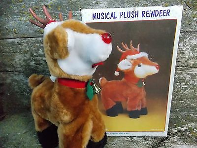 "Vintage 1980's Christmas Around The World 12"" Musical Plush Reindeer IOB"