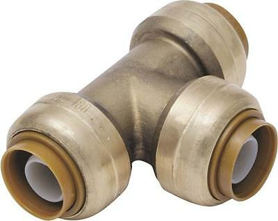 "Sharkbite U454Lfa  Brass 3/4"" 1/2"" X 1/2"" Push Fit Copper Pex Cpvc Tee 8219255"