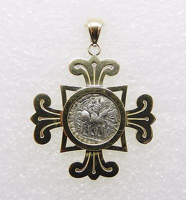 14K Yellow Gold Vintage Cross With Ancient Silver Coin  -  Lb2303