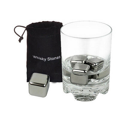 4/8 Pcs Stainless Steel Glacier Chilly Neat Ice Cube Drink Scotch Whiskey Stones