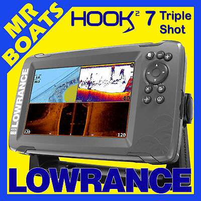 LOWRANCE HOOK2 7 Inch ✱ TRIPLE SHOT ✱ FISHFINDER & CHARTPLOTTER Built in C-MAP