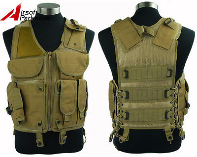 Tactical Military Airsoft Paintball Outdoor Combat Vest w/Pistol Gun Holster Tan