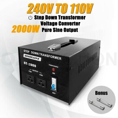New 2000W 240V to 110V Step Down Stepdown Transformer Voltage Converter 2 Plugs
