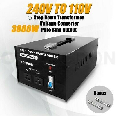 New 3000W 240V to 110V Step Down Stepdown Transformer Voltage Converter 2 Plugs