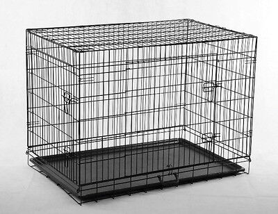 "New Black 36"" Pet Folding Suitcase Dog Cat Crate Cage Kennel Pen w/ABS Tray LC"