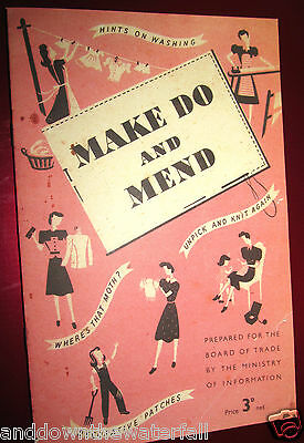 MAKE DO & MEND BOOK WWII Needlework Embroidery Knit DIY Decoration Sewing Crafts