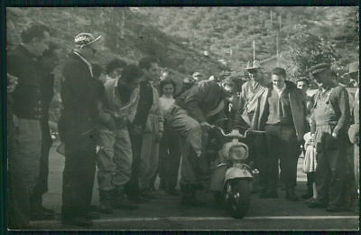 Motorcycle vespa scooter original 1950s Real Photo postcard