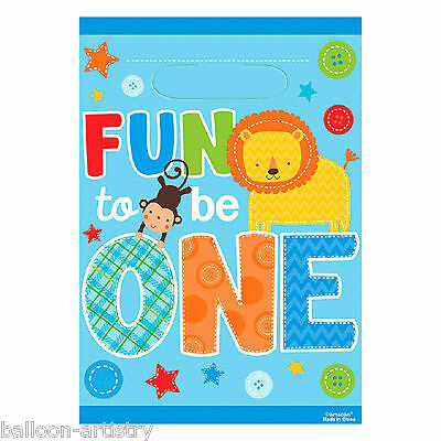 8 Wild Fun To Be One Blue Boy's 1st Birthday Party Plastic Gift Treat Loot Bags