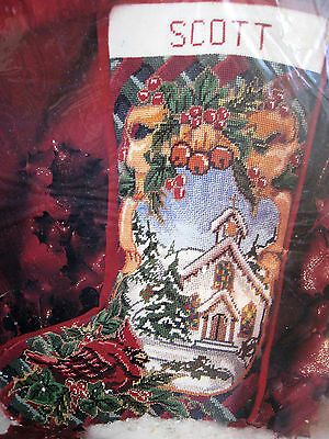 Christmas Holiday Candamar Needlepoint Stocking Kit,CARDINAL AND CHURCH,#30788