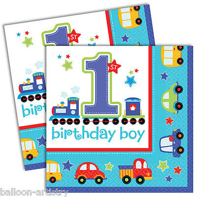 16 All Aboard Blue Boy's 1st Birthday Party Disposable 33cm Paper Napkins
