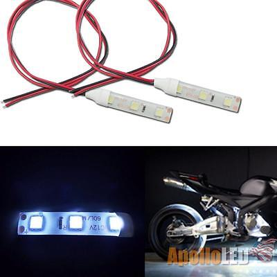 2x 12V 5050-SMD White LED Strip Lights For Motorcycle Under Glow Accent Lighting