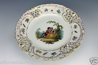 Rare Dresden Carl Thieme Potschappel Hand Painted Pierced Reticulated Compote