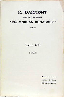 1923 Darmont Morgan Runabout Type Sg A Courbevoie Cyclecar Depliant