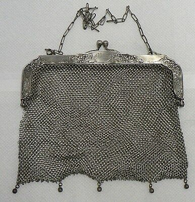 Old German Silver Mesh Purse  Part Is Unraveled