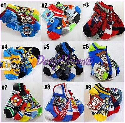Socks Boys Ankle Pack 5 Transformers Paw Patrol Disney Batman Marvel No Show New