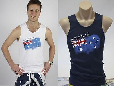 Australia Day Tank Top Mens Aussie Party Blue White Small Med Large XLarge