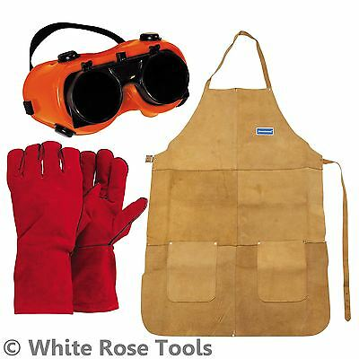 New Silverline Welders Apron, Goggles & Gauntlets Safety Equipment Set