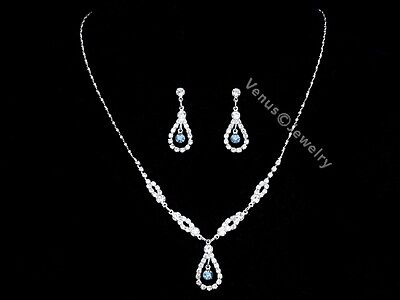 Blue Bridal Wedding Bridesmaid Rhinestone Crystal Necklace Earrings Set N280