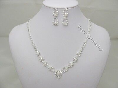 Bridal Wedding Crystal Pearls Necklace Earrings Set 2229