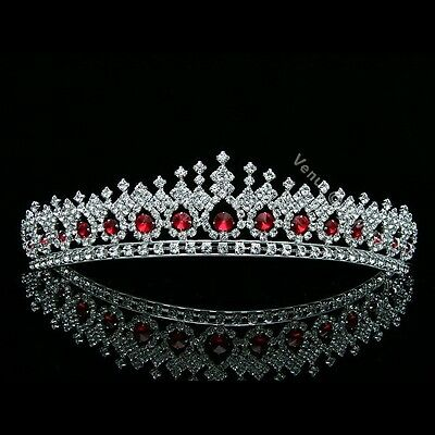 Gorgeous Apple Red Rhinestone Crystal Bridal Wedding Prom Crown Tiara 7561