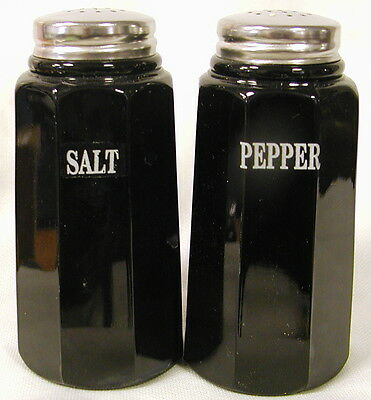 Black Milk Glass Paneled Salt & Pepper Shaker Set w/ SALT & PEPPER