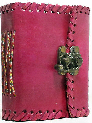 PINK Handmade Leather Mini-Journal 3x4 Lace Edges with Brass Latch NEW