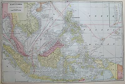 1911 Antique EAST INDIES Map Philippines Map Borneo Map Sumatra Gallery Wall Art