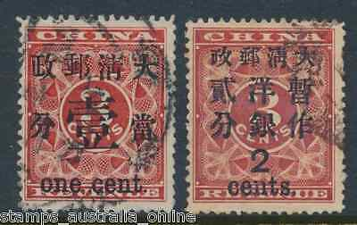 1897 China Surcharges On Red Revenues, 1 Cent On  3 Cent, 2 Cent On 3 Cent