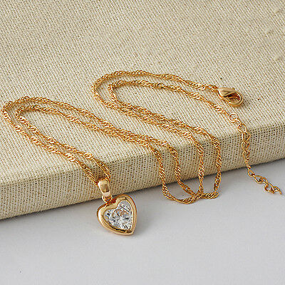 Lovely Womens Yellow Gold Filled Clear CZ Heart Pendant +Free Necklace A3581