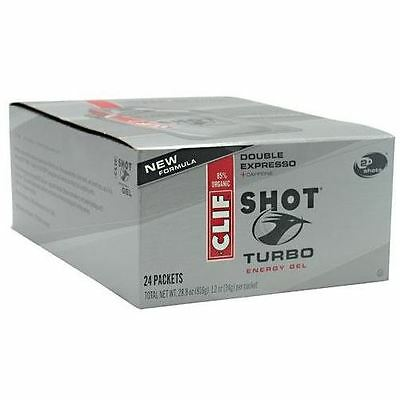 Clif Shot Turbo Energy Gel (24-1.2 oz (34g) packets Double Expresso)